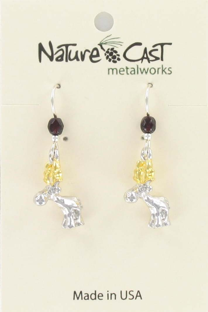 Earring dangle 2tone whimsical moose