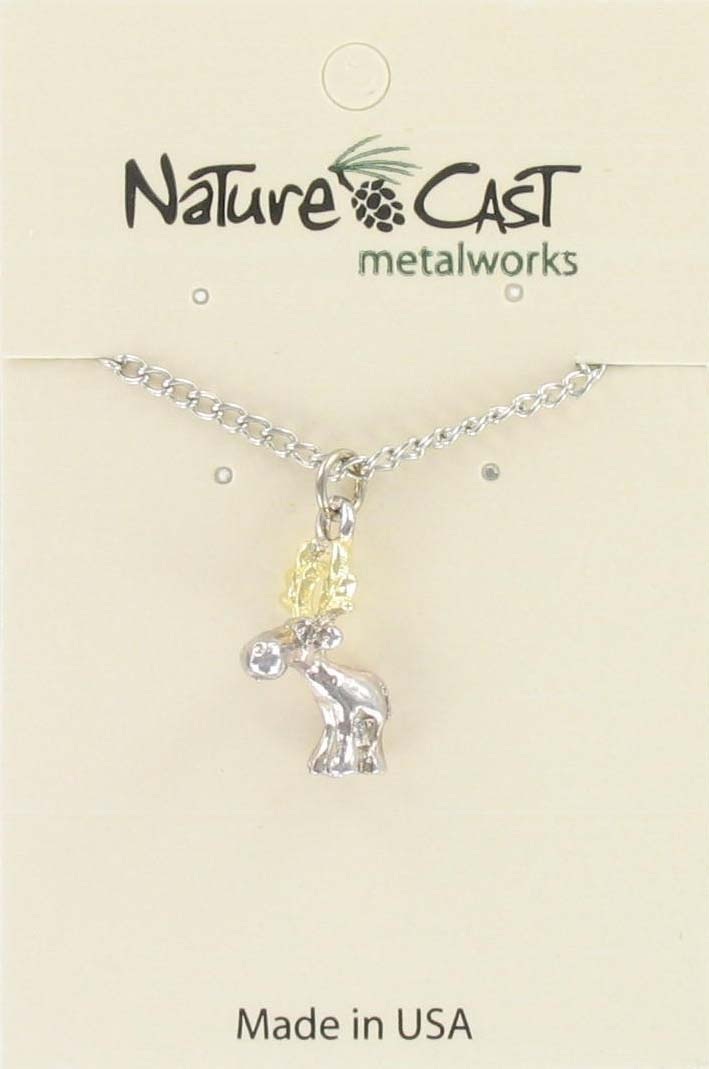"Pendant 2tone whimsical moose  w/18"" chain"