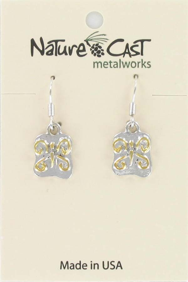 Earring dangle 2tone butterfly