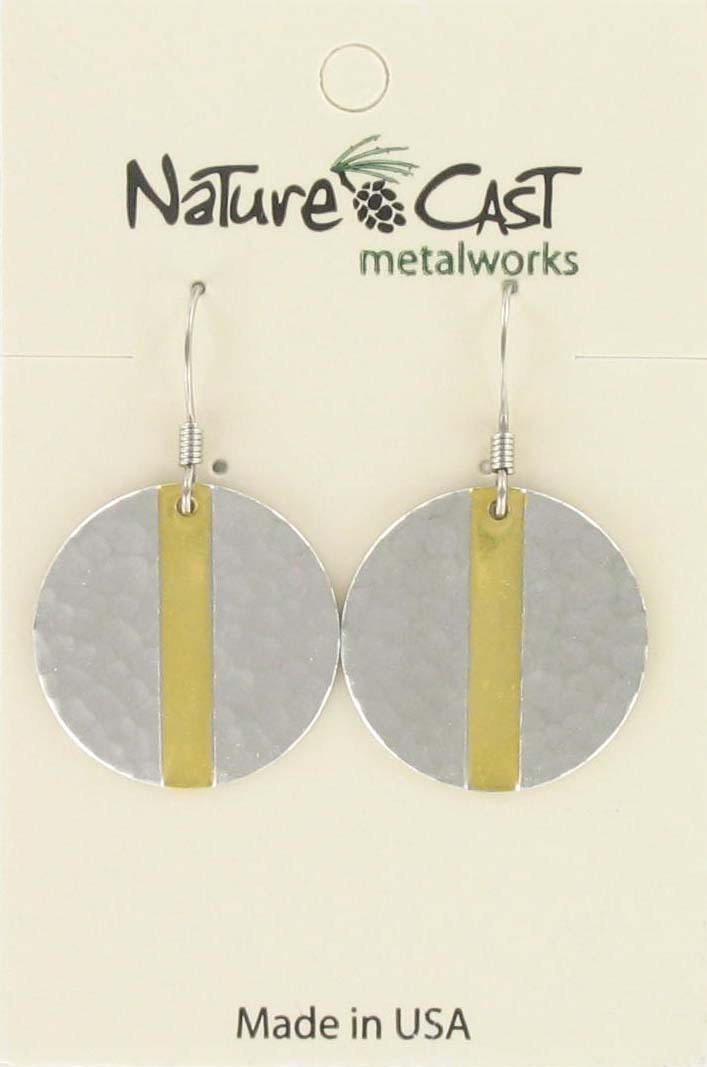 Earring dangle 2tone hammered disc with stripe THUMBNAIL