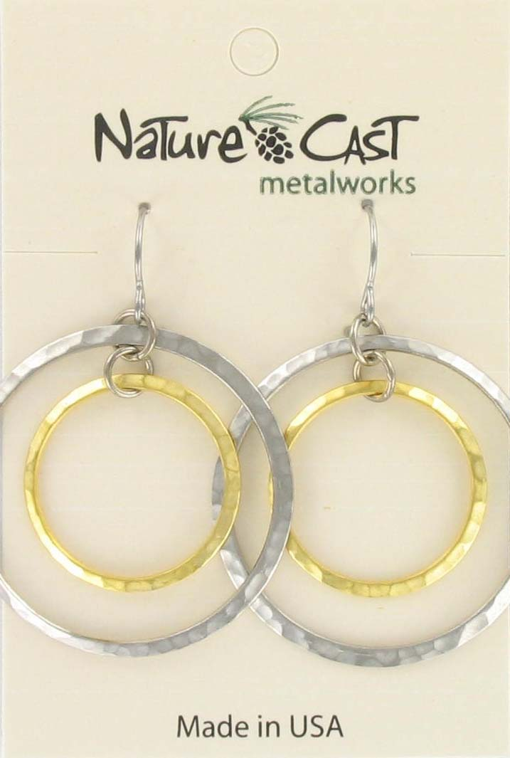 Earring dangle 2tone double circle