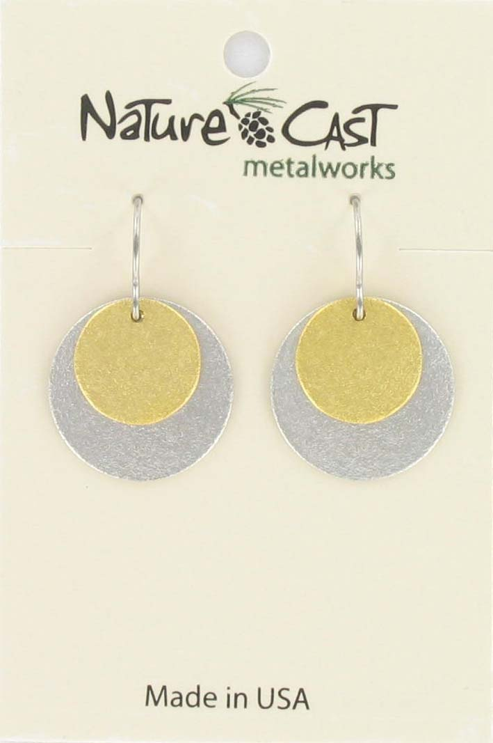 Earring dangle 2tone textured circles THUMBNAIL