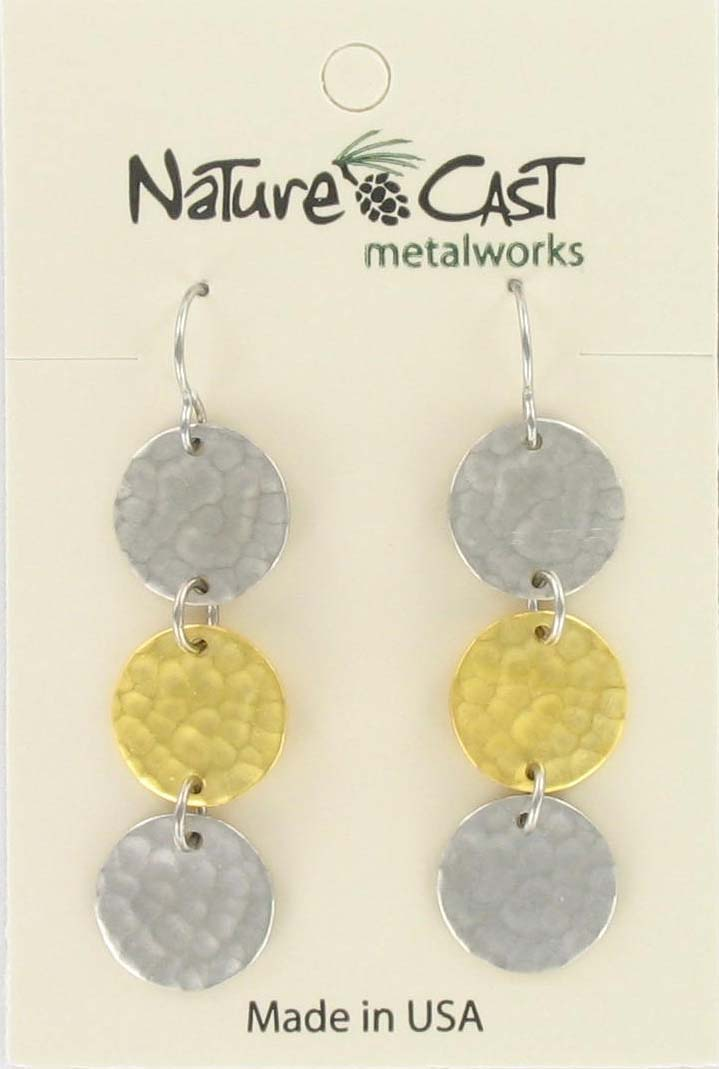 Earring dangle 2tone triple hammered disc