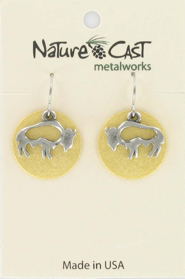 Earring dangle 2tone open bison on disc
