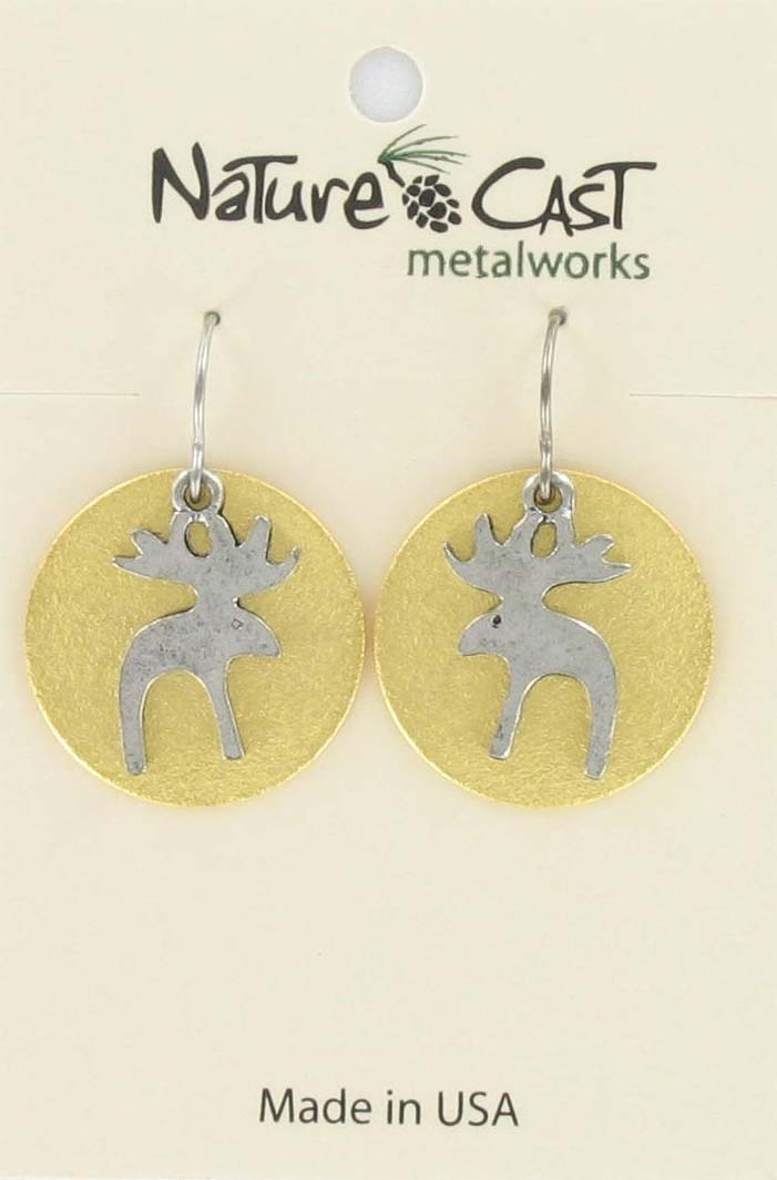 Earring dangle 2tone moose on disc