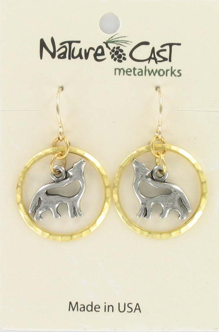 Earring dangle 2tone cutout wolf in circle