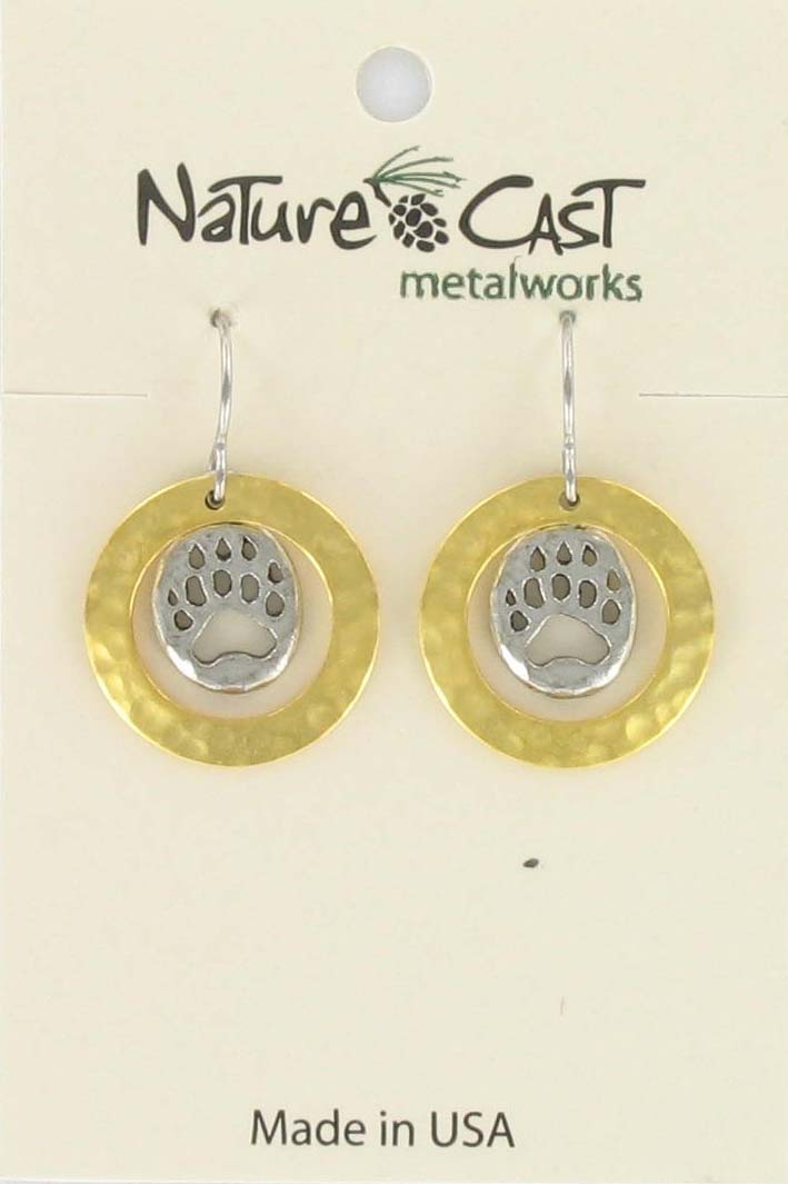Earring dangle 2tone bear paw in hammered circle