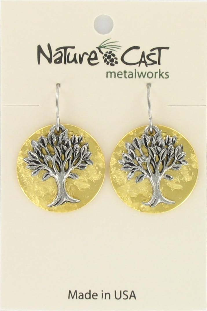 Earring dangle tree of life on gold plate disc