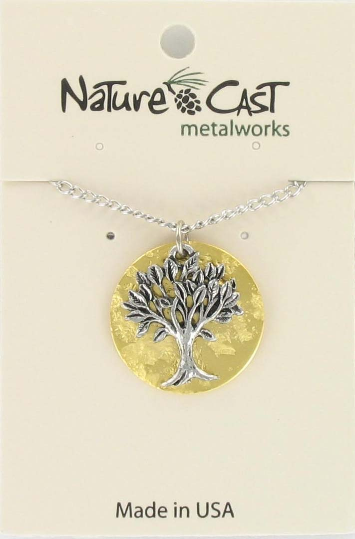 "Pendant tree on gold plate disc w/18"" chain"