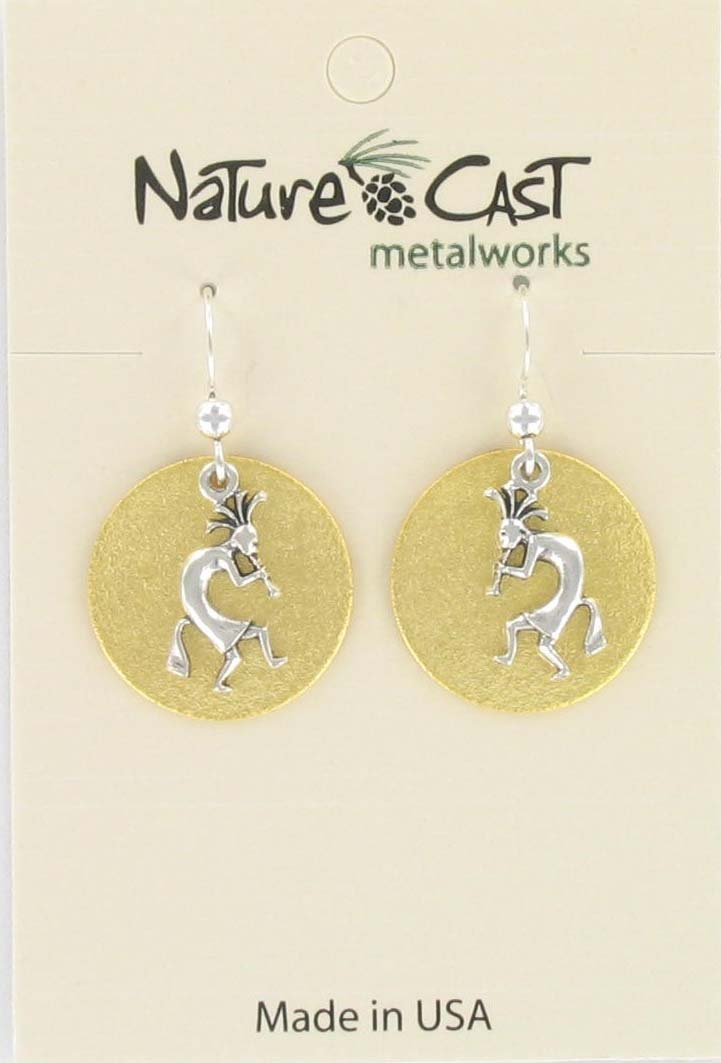 Earring dangle kokopelli on disc