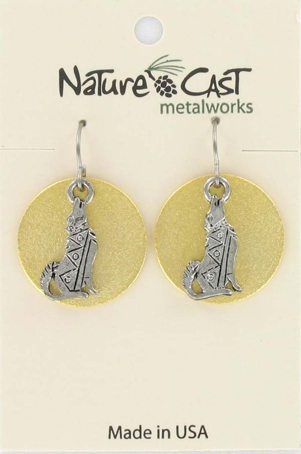 Earring dangle SW coyote on disc