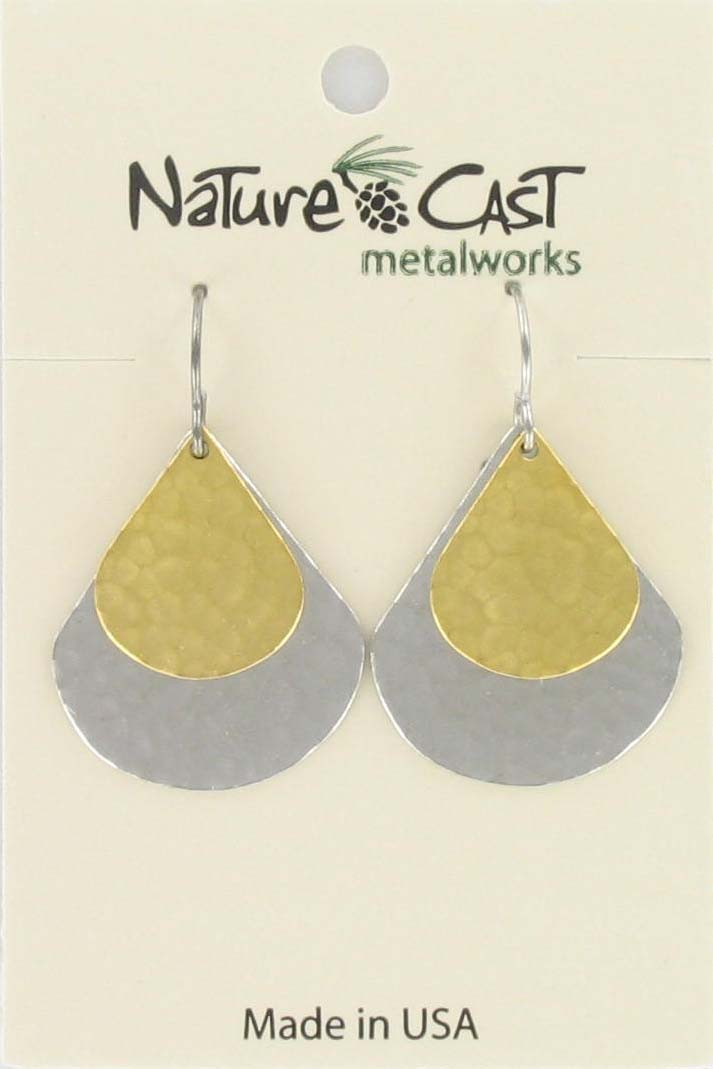 Earring dangle 2 tone double hammered teardrop