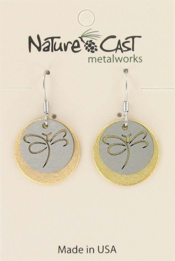 Earring dangle 2 tone cutout dragonfly on disc THUMBNAIL