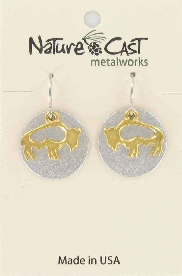 Earring dangle 2 tone cutout bison on disc
