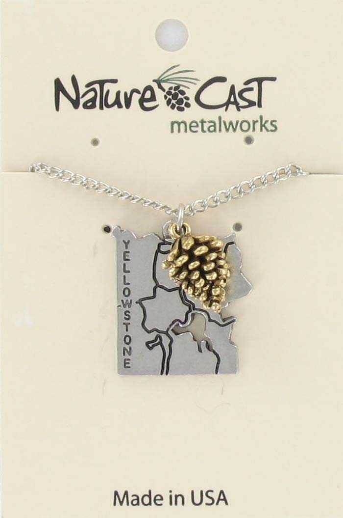 "Pendant Yellowstone map with gold tone pinecone w / 18"" chain"