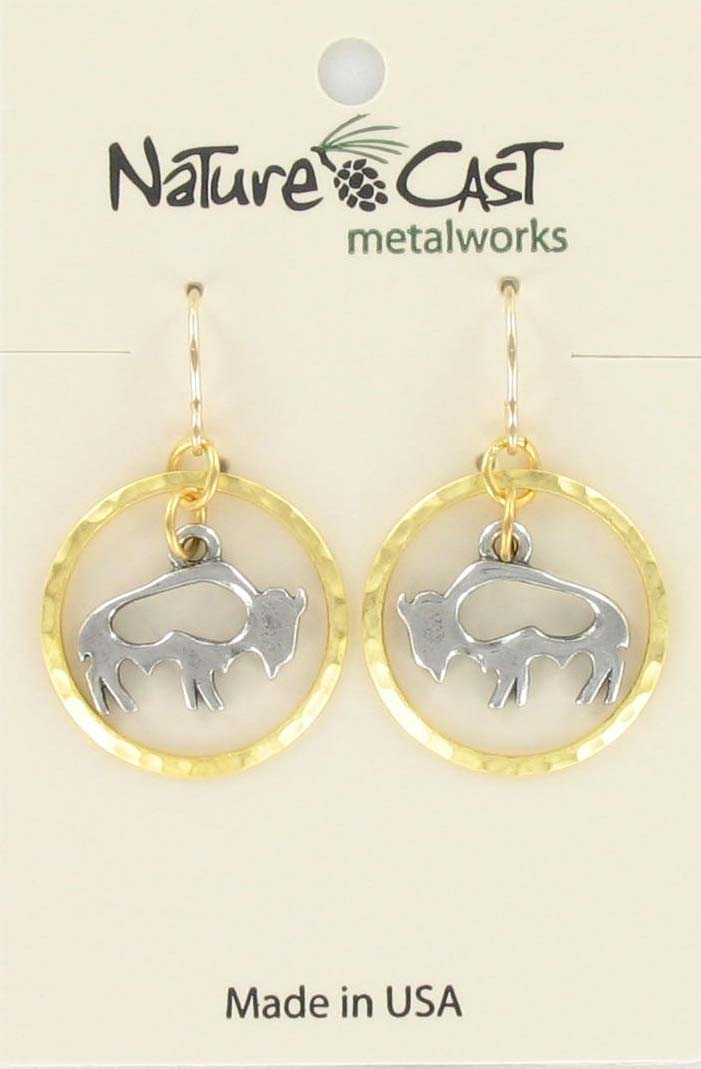 Earring dangle 2 tone cutout bison in gold circle