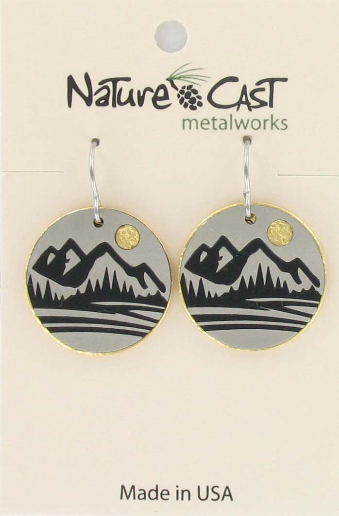 Earring dangle two tone mountain disc LARGE
