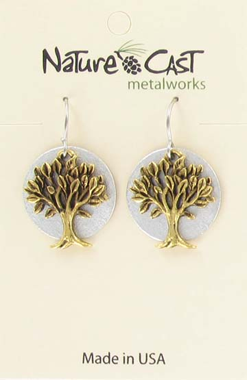 Earring dangle 2 tone gold tree on disc THUMBNAIL