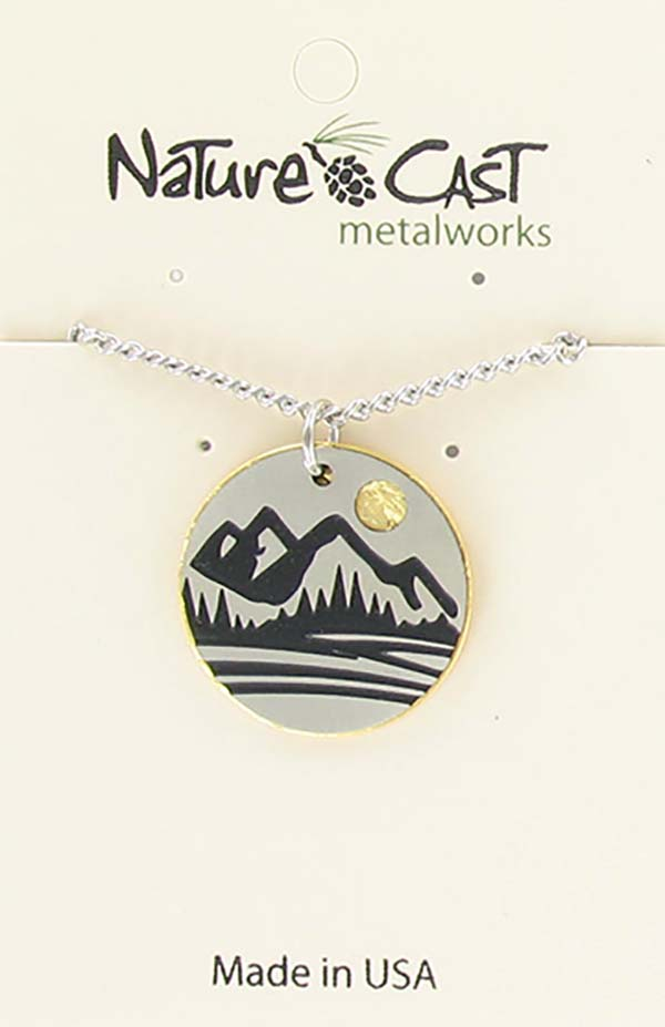 "Pendant two tone mountain disc w / 18"" chain"