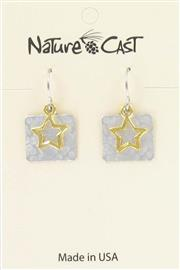 Earring dangle gold star on hammered square THUMBNAIL