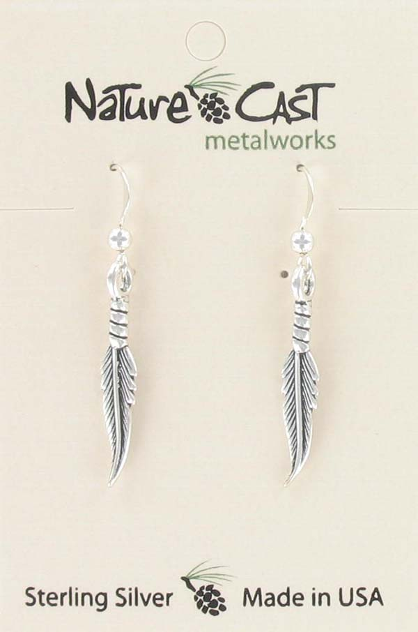 Earring dangle feather sterling silver