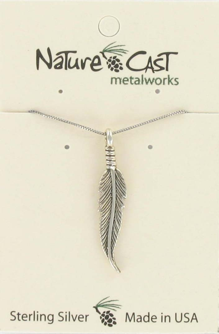"Pendant feather w/18"" chain sterling silver THUMBNAIL"
