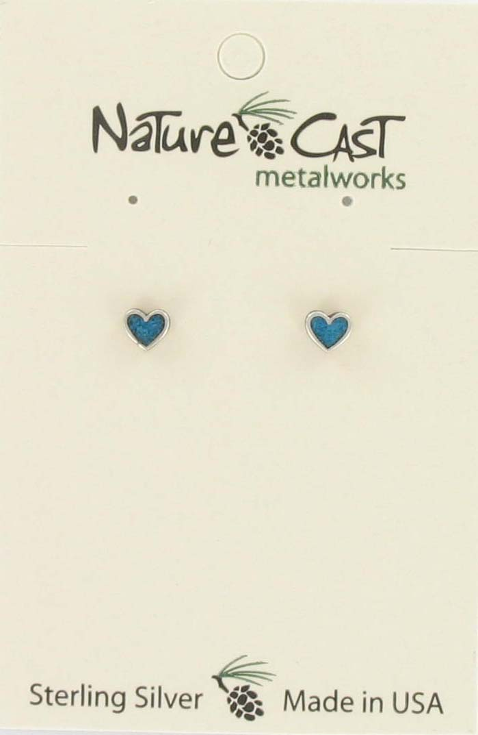 Earring post heart w/ turquoise inlay sterling silver THUMBNAIL