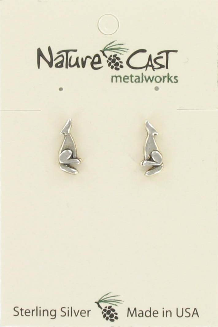 Earring post howling wolf sterling silver THUMBNAIL