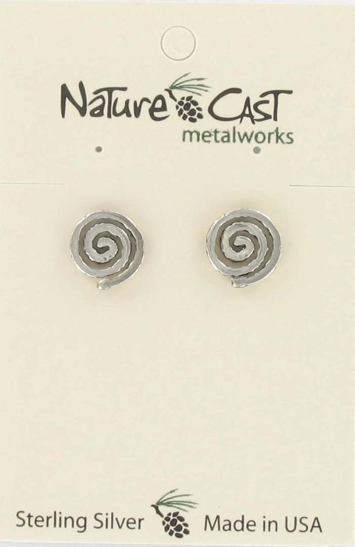 Earring post swirl sterling silver