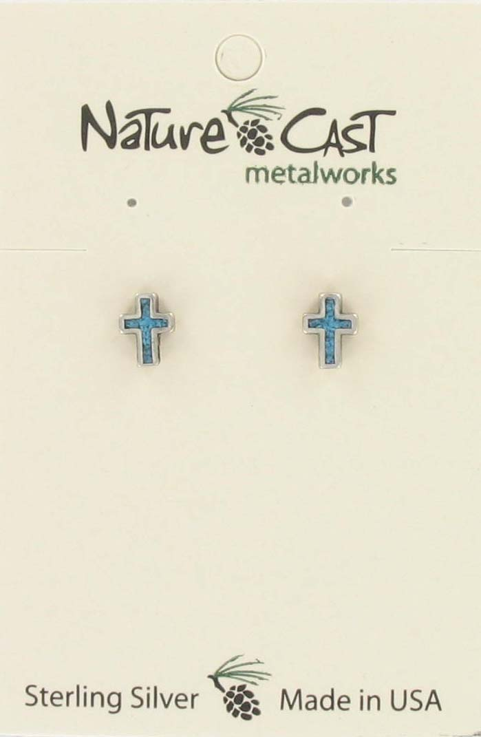 Earring post cross w/ turquoise inlay sterling silver