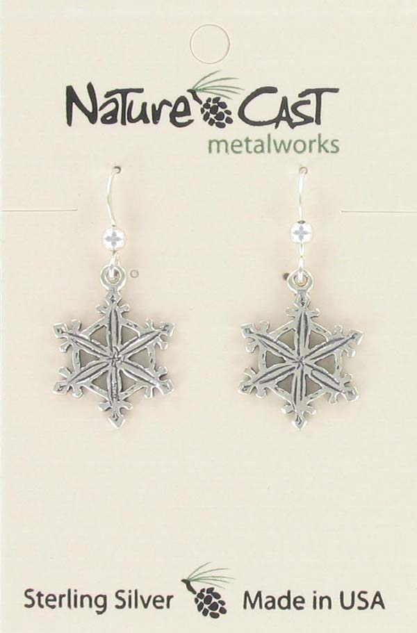 Earring dangle cutout snowflake sterling silver THUMBNAIL