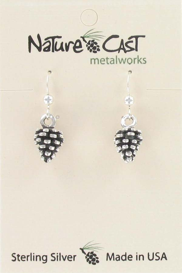 Earring dangle pine cone sterling silver