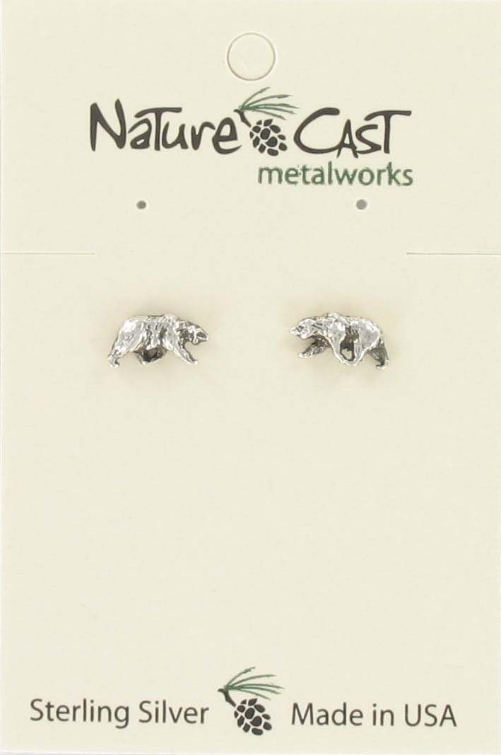 Earring post small bear sterling silver