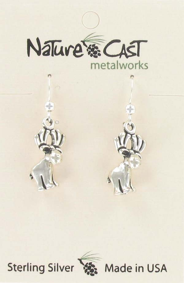 Earring dangle whimsical moose sterling silver THUMBNAIL