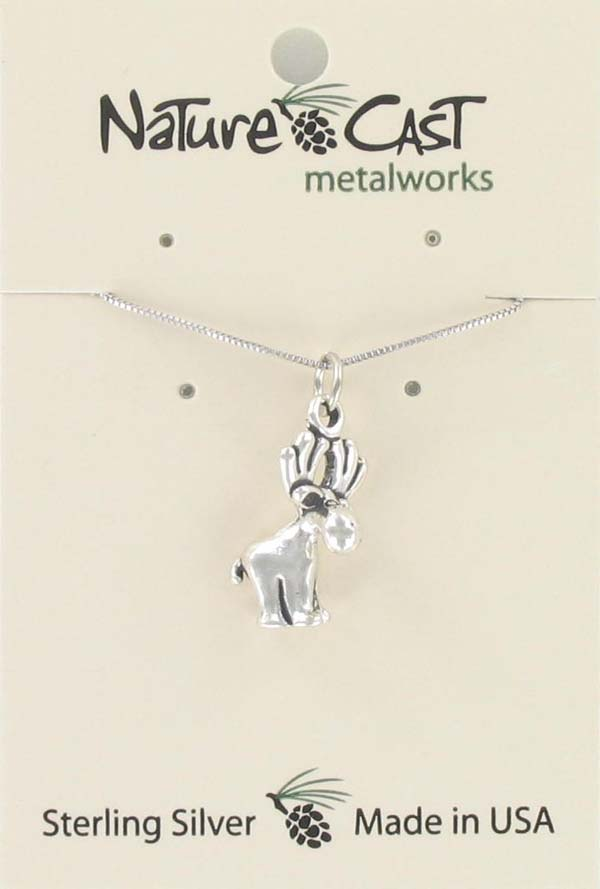 "Pendant whimsical moose w/18"" chain sterling silver MAIN"