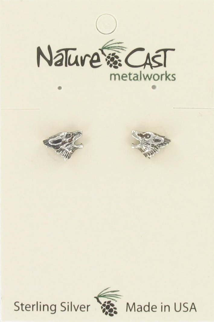 Earring post wolf head sterling silver THUMBNAIL