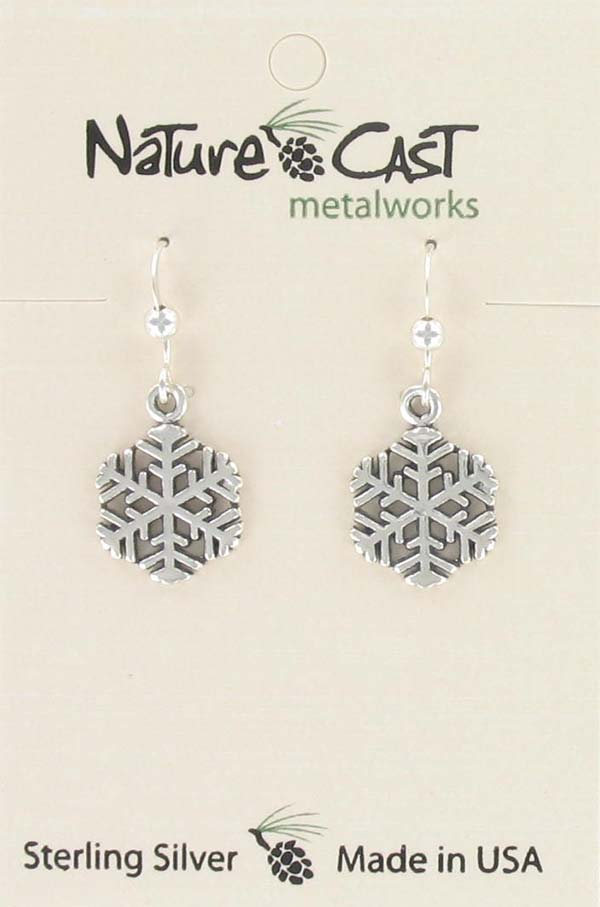 Earring dangle snowflake sterling silver THUMBNAIL