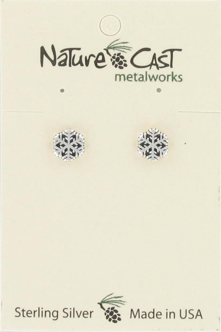Earring post small snowflake sterling silver
