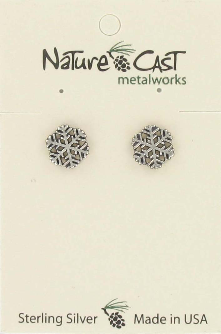 Earring post large snowflake sterling silver