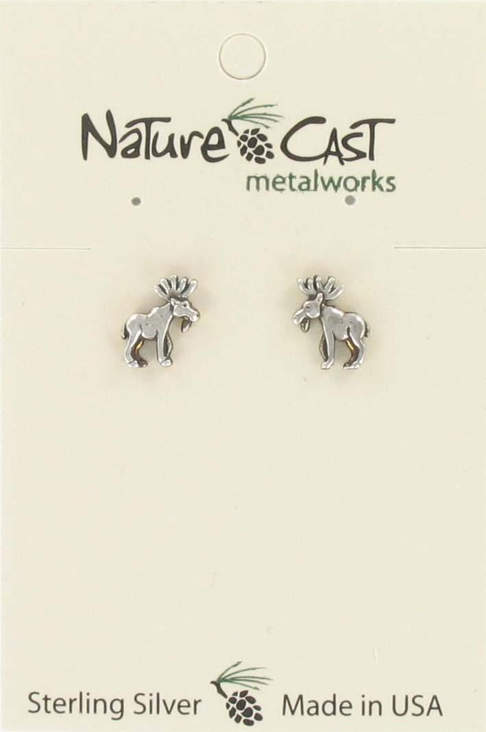 Earring post small moose sterling silver THUMBNAIL