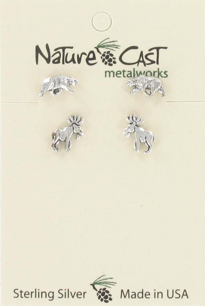 Earring post moose & post bear combo set sterling silver