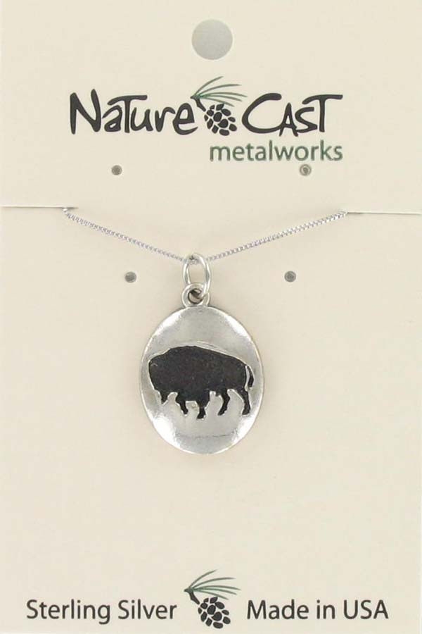 "Pendant oval buffalo w/18"" chain sterling silver"