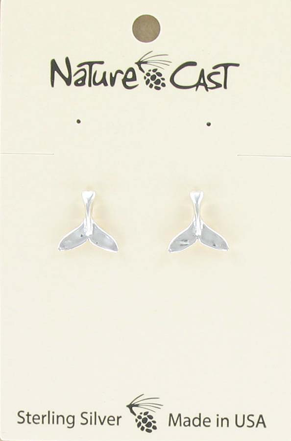 Earring post sterling silver whale tail THUMBNAIL