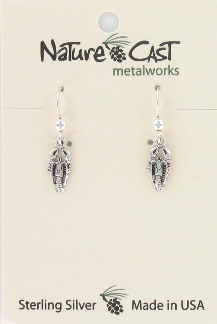 Earring dangle sterling silver lobster