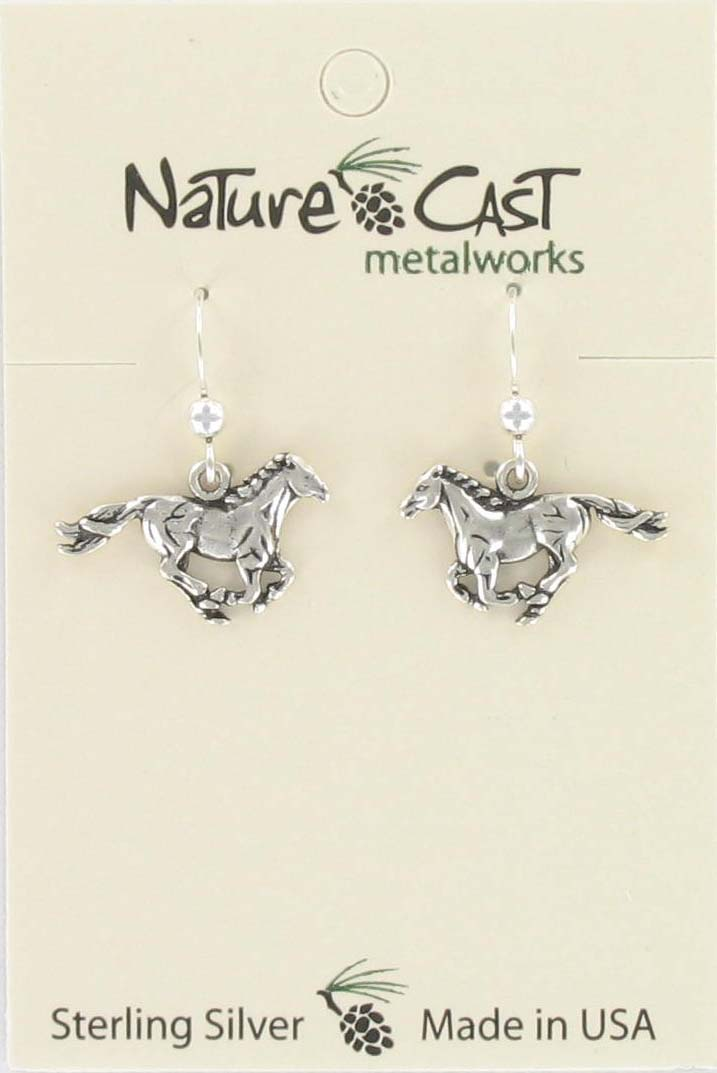 Earring dangle running horse sterling silver