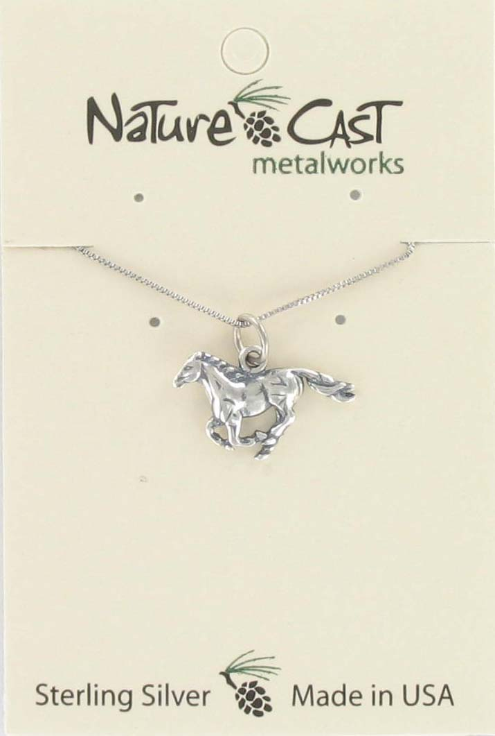 "Pendant running horse w/18"" chain sterling silver"