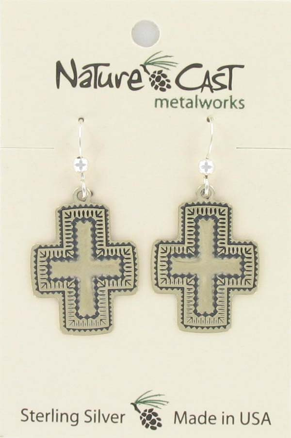 Earring dangle southwest cross sterling silver THUMBNAIL
