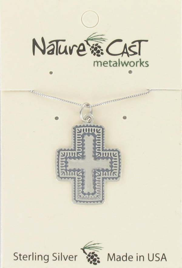 "Pendant southwest cross w/18"" chain sterling silver THUMBNAIL"