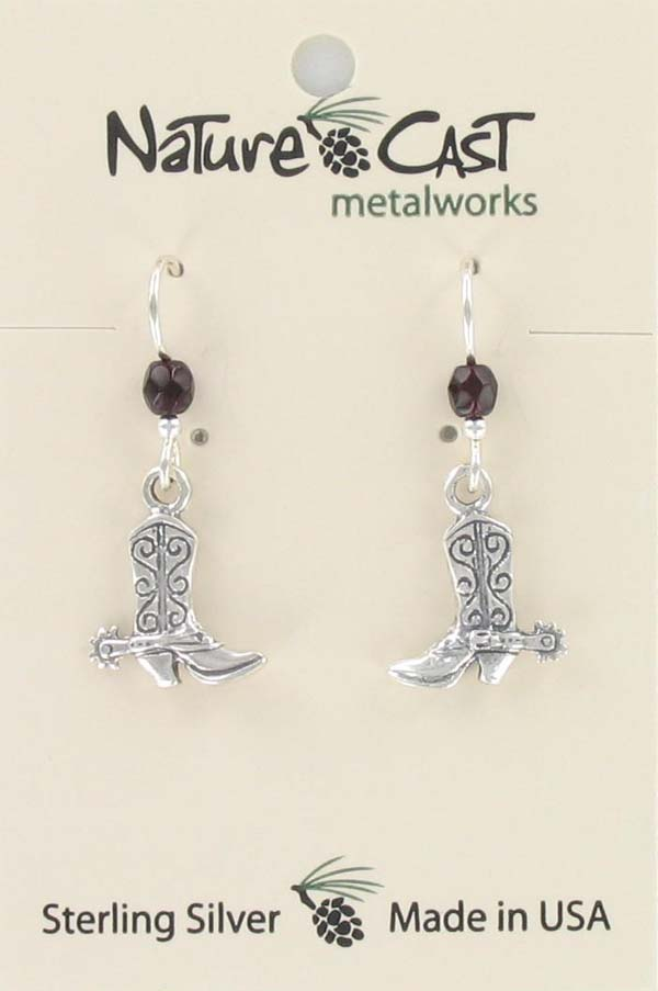 Earring dangle western cowboy boot sterling silver THUMBNAIL