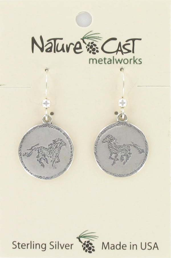 Earring dangle round disc w/ horse design sterling silver THUMBNAIL